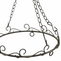 Anneau décoratif avec crochet pour accrocher brun rouille Ø20,5cm