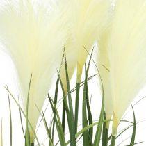 Carex en pot Pot artificiel crème végétale, vert 79cm