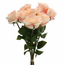 Bouquet de roses artificielles abricot 8pcs