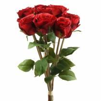 Rose en bouquet artificiel rouge 36cm 8pcs