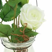 Rose dans le verre blanc H23cm