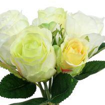 Bouquet de roses en blanc et vert Ø15cm L25cm