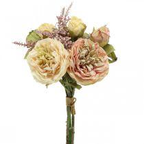Roses fleurs artificielles en bouquet d'automne bouquet crème, rose H36cm
