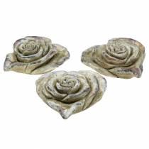 Béton rose coeur gris, violet Ø13 H5cm 3pcs