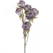 Branche de rose, fleur en soie, décoration de table, rose artificielle aspect antique violet L53cm