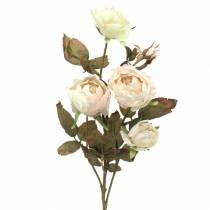 Branche de rose artificielle blanc crème 76cm