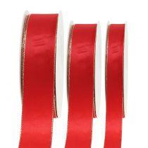 Ruban de satin rouge avec bord doré 40m