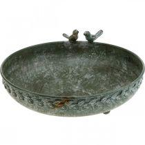 Bol de bain pour oiseaux Bain pour oiseaux aspect antique gris, blanc Ø30cm