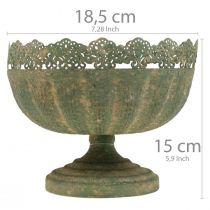 Jardinière rustique, bol avec pied, décoration métal, aspect antique, Ø18,5cm H15cm