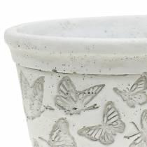 Bol à plantes blanc avec papillons 21cm x 14cm H9,5cm 2pcs