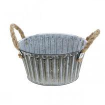 Bol à plantes, bol en métal avec poignées, bol décoratif à planter Ø18cm