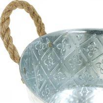 Bol décoratif argenté avec poignées Jardinière en métal Jardinière Ø21cm