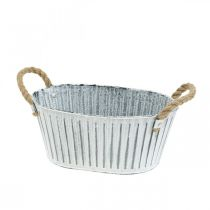 Jardinière avec poignées, bol à fleurs en métal, bol décoratif à planter L28cm
