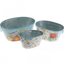 Bols à plantes, printemps, jardinière fleurs / oiseaux, pot en métal ovale L39 / 31 / 24.5cm lot de 3