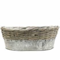 Coupe en zinc ovale avec tressage en osier 20 -32 cm lot de 3