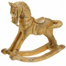 Figurine décorative cheval à bascule bois Noël doré, paillettes 28 × 38 × 9,5cm
