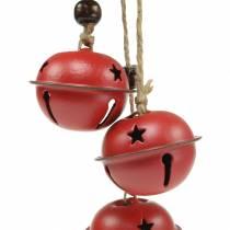 Cloches avec étoile sur le ruban à suspendre rouge L30cm 2pcs