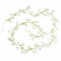Guirlande de décoration de mariage gypsophile avec oeillets blanc 180cm