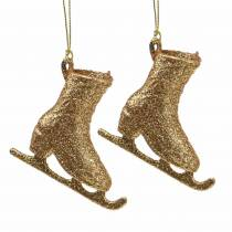 Décorations pour arbres de Noël patin à glace or, paillettes 8cm 12pcs