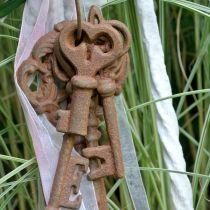 Porte-clés fonte rouille 36cm 5 pièces