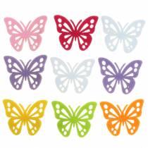 Décoration de table en feutre papillon Assortiment 3,5 × 4,5 cm 54 pièces Différentes couleurs