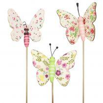 Papillon sur un bâton en bois 5,5cm - 7cm 18pcs
