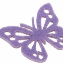 Papillon en feutre Violet/blanc  3,5x4,5cm 54 pcs