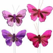 Papillon plume avec fil 7cm rose lilas 24pcs