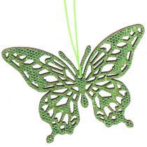 Attaches décoratives vertes papillons 8 cm 12 p.