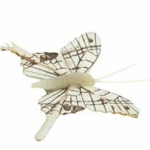 """Pack 6 métallique clip sur papillon décoration de noël argent 3/"""""""