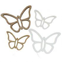 Papillon en bois blanc / nature 3cm - 4,5cm 48pcs