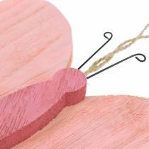 Papillon à suspendre bois rose 13cm x 22cm 2pcs
