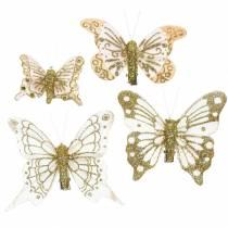 Papillon plume sur clip paillettes dorées 10pcs