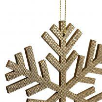 Flocon de neige Gold à suspendre Ø8cm - Ø12cm 9pcs