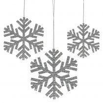 Flocon de neige en argent à suspendre Ø8cm - Ø12cm 9pcs