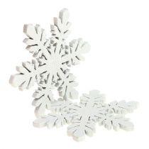 Flocons de neige en bois blanc Ø3,7cm 48pcs
