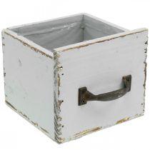 Tiroir jardinière Shabby Chic tiroir en bois gris 12,5 × 12,5 × 11cm