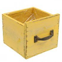 Tiroir déco jardinière vintage bois jaune 12,5 × 12,5 × 11cm