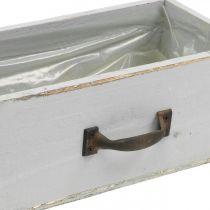Jardinière tiroir en bois Shabby Chic gris 25x13x9cm
