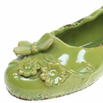 Planter chaussure femme en céramique vert 24cm