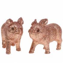 Déco Porc Glitter Rose 10cm 8pcs
