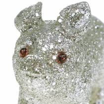 Déco Porc Glitter Silver 10cm 8pcs