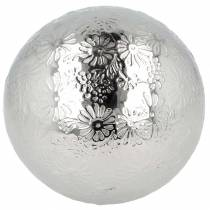 Boule flottante fleurs métal argenté Ø10cm