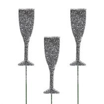 Flûtes de champagne à paillettes argent 8 cm L. 28 cm 24 p.