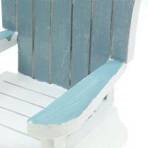 Chaise décorative en bois blanc-turquoise-grise H. 16 cm