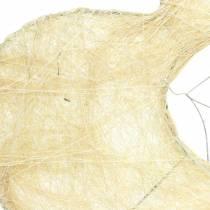 Manchon sisal coeur blanchi 16cm 10pcs