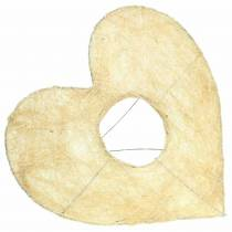 Manchon sisal coeur blanchi 25.5cm 10pcs