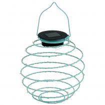 Lampe de jardin solaire turquoise 22 cm avec 25 LED blanc chaud