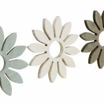 Fleurs d'été en bois décoration fleurs marron, gris clair, blanc streudeko 72pcs