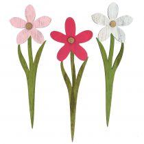 Décoration d'été fleurs sur piques rose, fuchsia 32 cm 6 p.